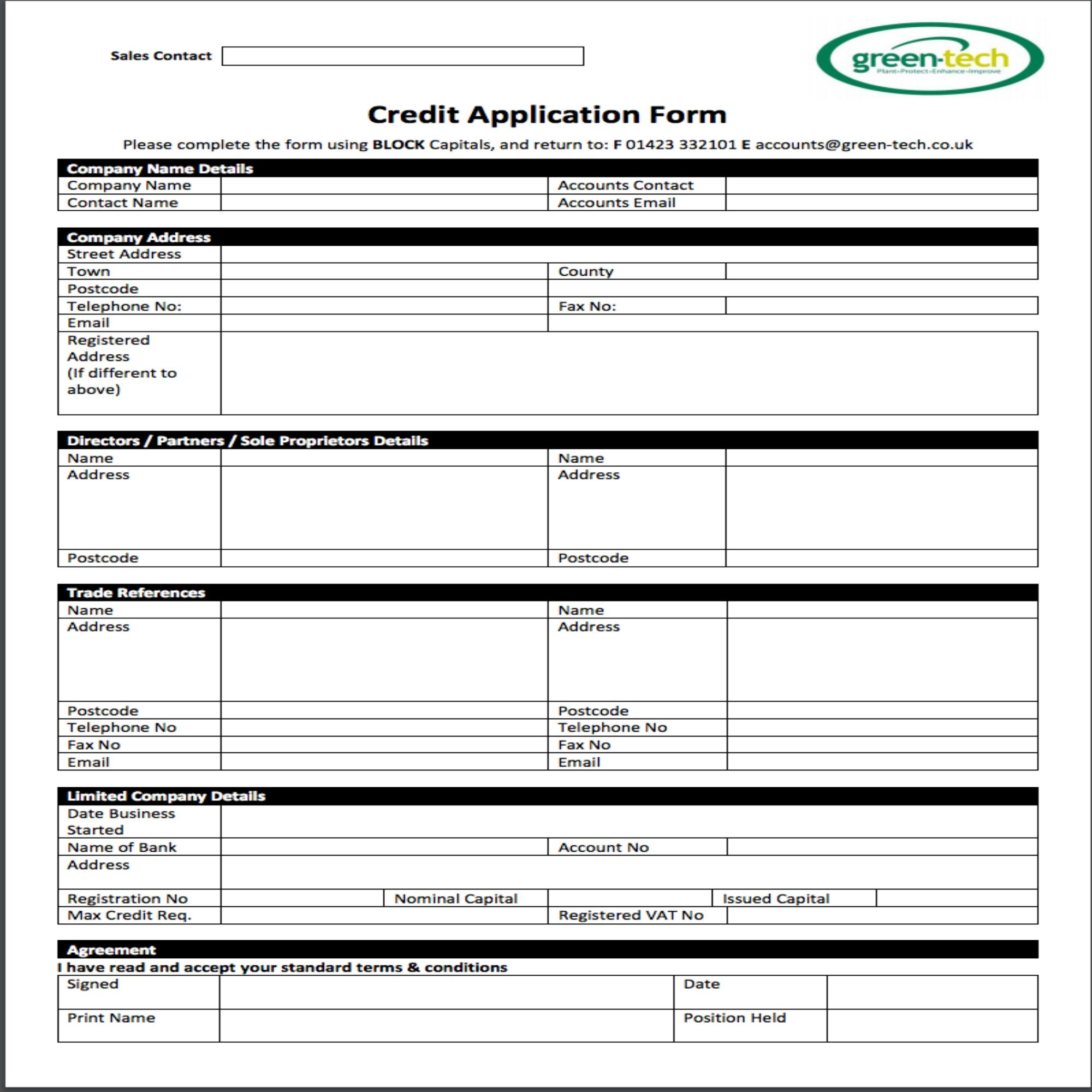 Green-tech Credit Application