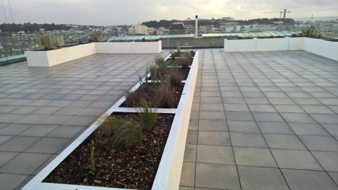 Green-tech supply products for new communal rooftop space in Jersey